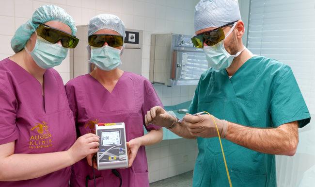OP Team bei mit dem CPC-Laser zur Glaukom Behandlung